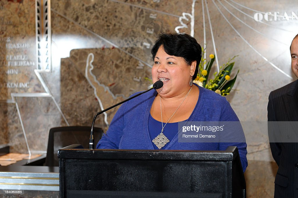 Publisher and Ceo, Eldiario/La Prensa Rosasana Rosado visits the Empire State building on October 11, 2013 in New York, United States.