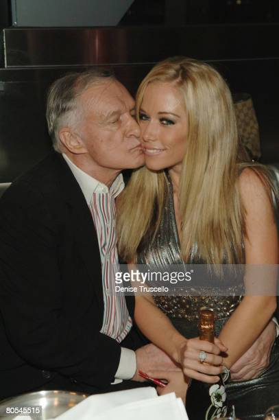 Publisher Hugh Hefner and television personality Kendra Wilkinson attend Hugh Hefner's 82nd birthday celebration at Moon Nightclub inside The Palms...
