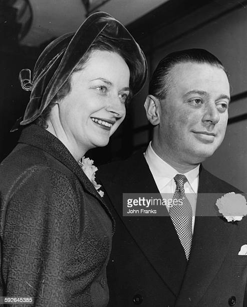 Publisher Max Reinhardt and his bride Dorothy Macdonald on their wedding day at Caxton Hall London March 14th 1957
