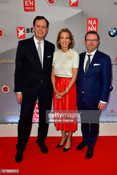 Publisher of Stern Magazine Alexander von Schwerin CEO Gruner Jahr Julia Jaekel and Editorinchief Stern Magazine Christian Krug attend the Nannen...
