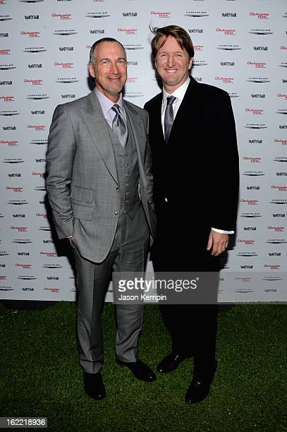 Publisher of Vanity Fair Edward Menicheschi and director Tom Hooper attend Vanity Fair and the Chrysler brand Celebration of Les Misérables in...