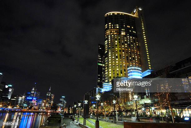 Publishing Broadcasting Ltd's Crown Casino and Entertainment Complex stretches out along the south bank of the Yarra River in Melbourne Australia...