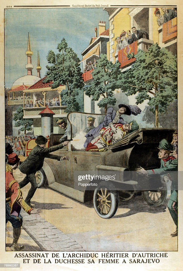 1914, A page from Le Petit Journal, illustrated supplement, shows the assasination of Archduke Franz-Ferdinand and his wife Sophie at Sarajevo on 28th June 1914, an event that was to hasten World War I