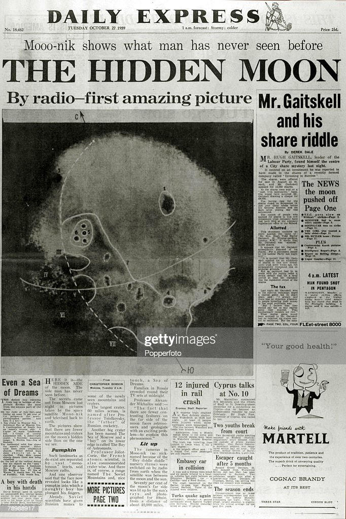 Publishing, Historic Newspaper Headlines, 27th October 1959, The front page of the Daily Express with the dark side of the Moon shown the first picture from the hidden part of the planet