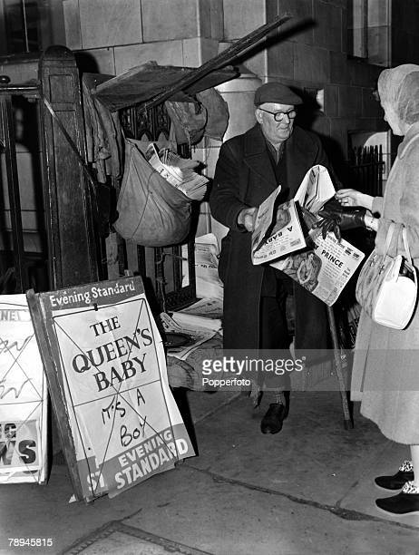 19th February 1960 London's evening newspapers announce the news of the birth of Queen Elizabeth 's second son Prince Andrew with a newspaper seller...