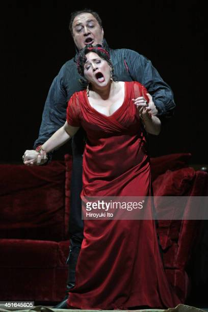 Puccini's 'Tosca' at the Metropolitan Opera House on Friday October 25 2013This imagePatricia Racette with George Gagnidza