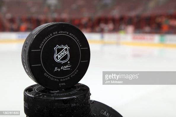 A puck is seen before the Philadelphia Flyers and St Louis Blues warm up for their game on October 22 2011 at Wells Fargo Center in Philadelphia...