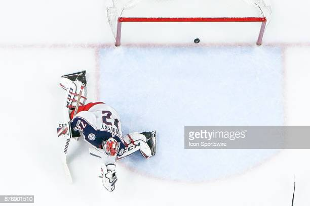 Puck slides past Columbus Blue Jackets Goalie Sergei Bobrovsky for goal by Buffalo Sabres Left Wing Evander Kane during the Columbus Blue Jackets and...