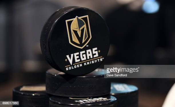 Pucks on display during the Vegas Golden Knights team store opening on June 19 2017 in Las Vegas Nevada