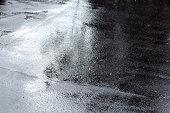 wet asphalt sidewalk background after heavy rain