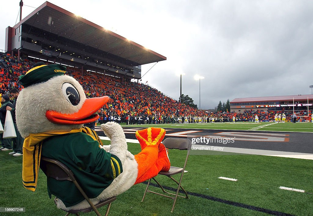 Puddles the mascot watches the game against the Oregon Ducks of the Oregon State Beavers during the 116th Civil War on November 24, 2012 at the Reser Stadium in Corvallis, Oregon.