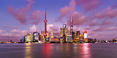 Twilight shot with the Pudong district skyline and the Huangpu river in Shanghai, China