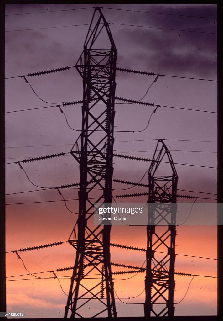 High voltage power lines from a coal power generator at ...