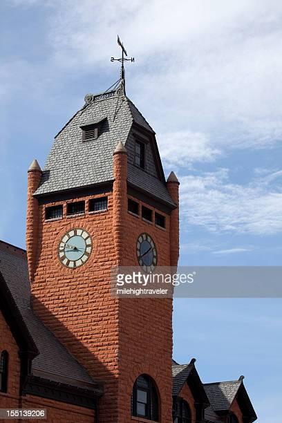 Pueblo's Union Train Station Clock Tower Colorado copy space vertical