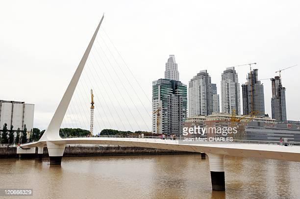 Puente De La Mujer in Buenos Aires Argentina on January 01 2009 The pedestrian drawbridge ' Puente de la Mujer' Santiago Calatrava's 'Woman's Bridge'...