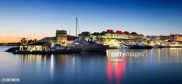Puerto Banus harbour at sunset in Andalusia, Spain