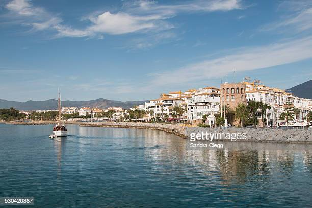 Puerto Banus, Town, Tower and  sail boat