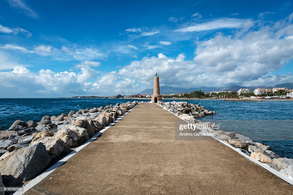 Puerto Jose Banus lighthouse in Marbella, Spain : Foto de stock