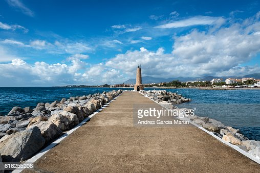 Puerto Jose Banus lighthouse in Marbella, Spain : Stock Photo