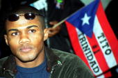 Puerto Rican boxer and WBA Super Welterweight Champ Felix Trinidad appears at a 26 November 2000 press conference in downtown Los Angeles CA to...
