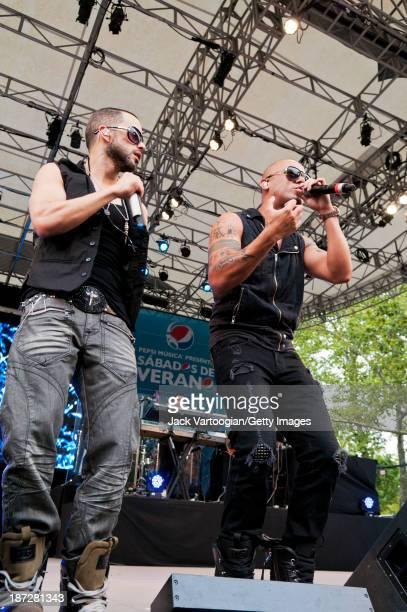 Puerto Rican Reggaeton singers Wisin y Yandel perform at Central Park SummerStage New York New York August 13 2011 Pictured are from left Wisin and...