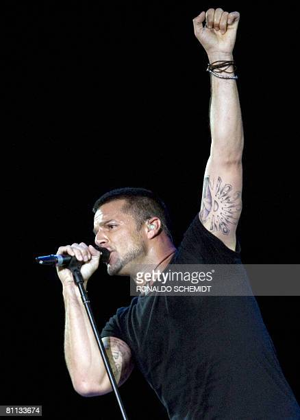 Puerto Rican singer Ricky Martin performs at the ALAS concert at the Zocalo Square in Mexico City on May 17 2008 Shakira's ALAS foundation has...