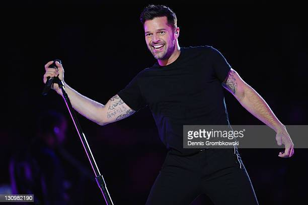 Puerto Rican singer Ricky Martin performs during the Closing Ceremony of the XVI Pan American Games at the Omnilife Stadium on October 30 2011 in...