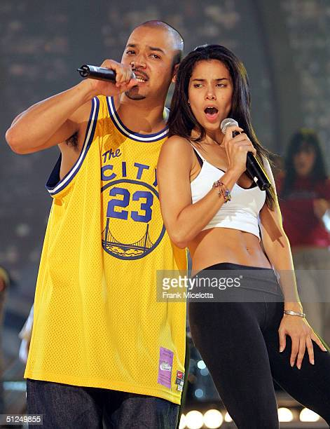 Puerto Rican singer Roselyn Sanchez rehearses with Sergio Gomez of Akwid on stage for the '5th Annual Latin Grammy Awards' August 31 2004 at the...