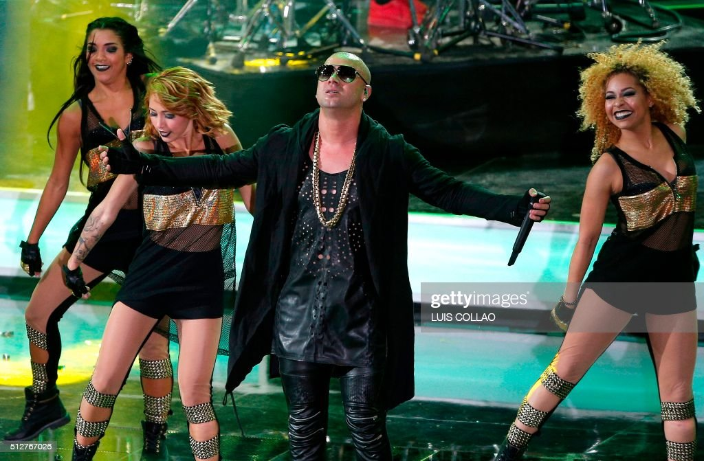 Puerto Rican singer Wisin performs during the Vina del Mar song Festival in Vina del Mar Chile on February 27 2016 AFP PHOTO / Aton Chile Luis Collao...