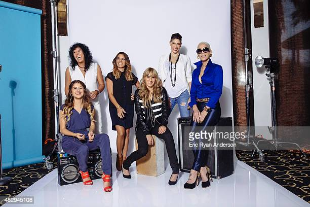 Puerto Rican singersongwriter Kany Garcia reggaeton artist Ivy Queen Spanish artist Rosana pop singer Sofia Reyes and sister duo Ha*Ash pose for a...