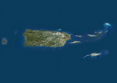 Puerto Rico and the Virgin Islands True colour satellite image showing Puerto Rico and the Virgin islands Composite image using data from LANDSAT 5...