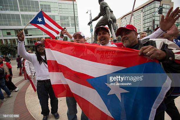 Puerto Rico fans cheer outside before the 2013 World Baseball Classic Championship Game between Team Puerto Rico and Team Dominican Republic on...