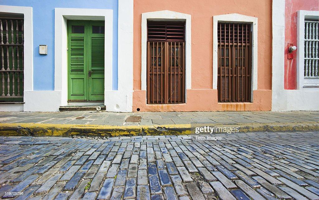 Puerto Rico, Old San Juan, door in houses on brick street