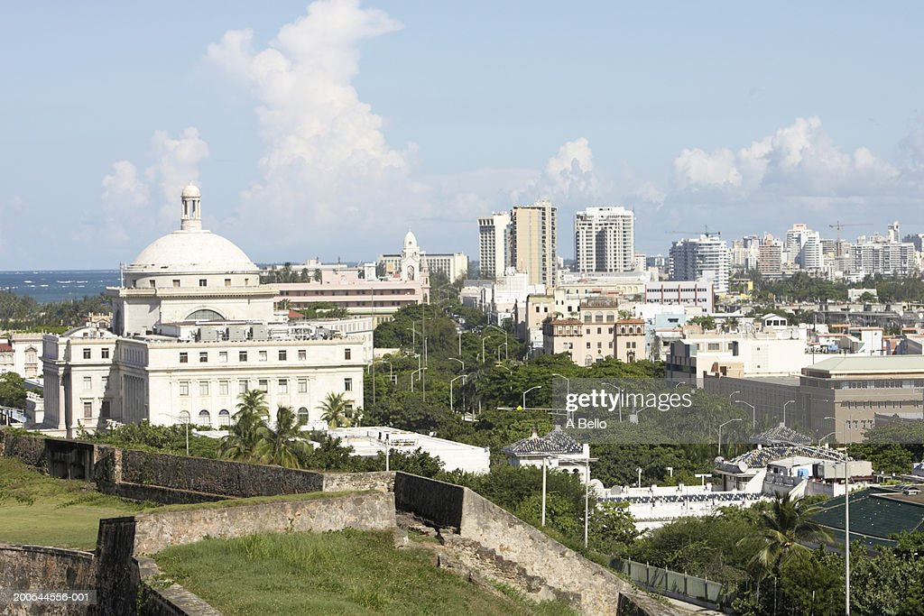 Puerto Rico, Old San Juan, view of the Capitol Building from San Cristobal Fort : Stock Photo