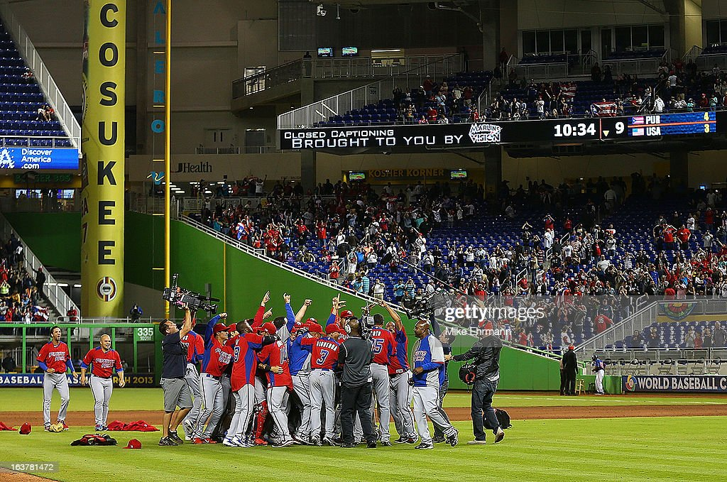 Puerto Rico reacts to winning a World Baseball Classic second round game against the United States at Marlins Park on March 15, 2013 in Miami, Florida.