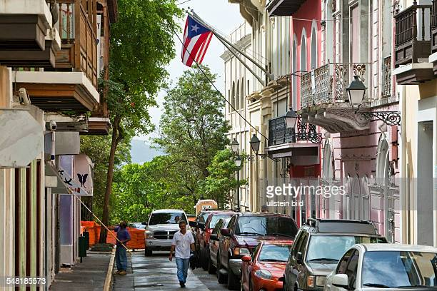 Puerto Rico San Juan San Juan Street in Old San Juan with Puertorican and US flag
