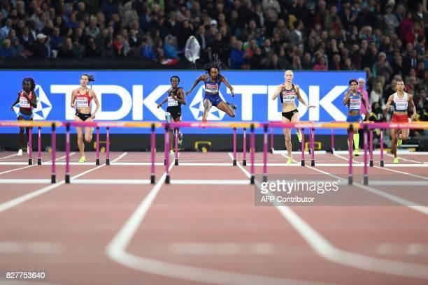 Puerto Rico's Grace Claxton Czech Republic's Denisa Rosolova Jamaica's Rhonda Whyte US athlete Dalilah Muhammad Canada's Sage Watson Italy's...