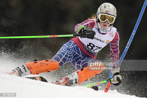 Puerto Rico's Kristina Krone skis during the first run of the women's slalom at the 2013 Ski World Championships in Schladming Austria on February 16...