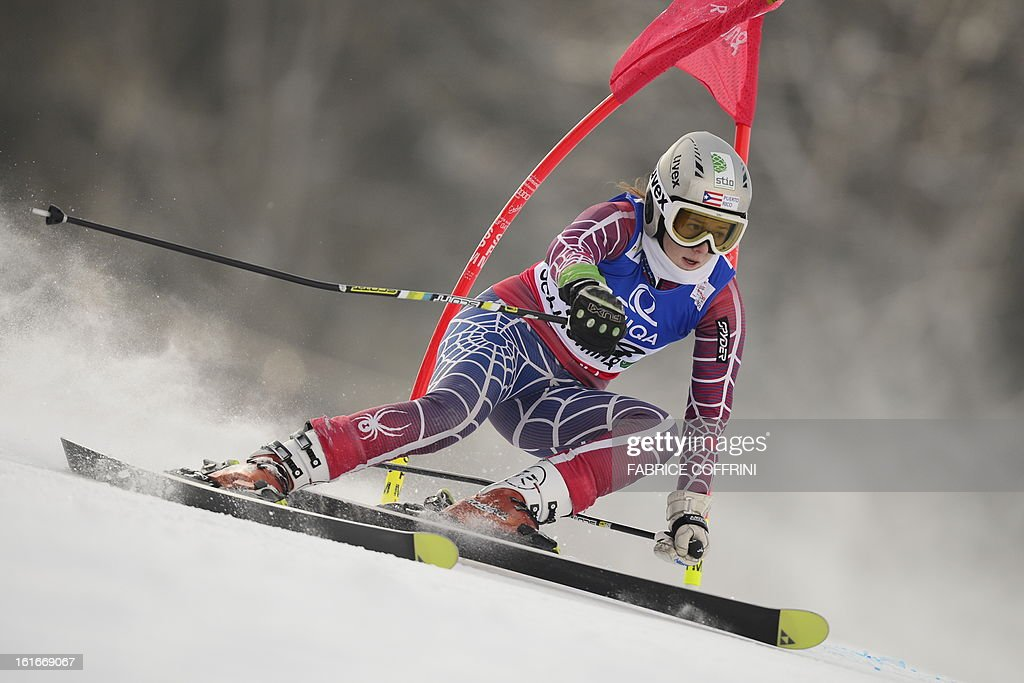Puerto Rico's Kristina Krone skis during the Women's Giant slalom first run at the 2013 Ski World Championships in Schladming, Austria on February 14, 2013.