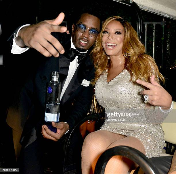 Puff Daddy and Wendy Williams backstage at Pitbulls New Years Eve Revolution 2015 at Bayfront Park Amphitheater on December 31 2015 in Miami Florida