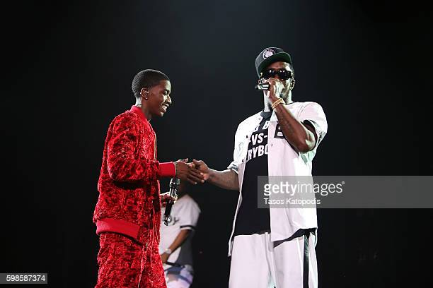 Puff Daddy performs on stage with son Christian Combs during the Live Nation presents Bad Boy Family Reunion Tour sponsored by Ciroc Vodka...