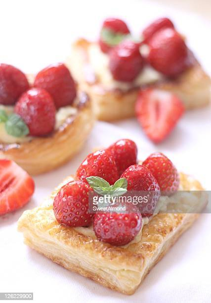 Puff pastry strawberry tartlets