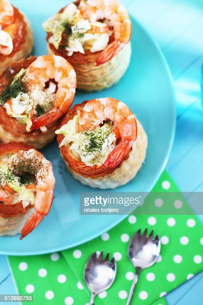 Puff pastry with prawns