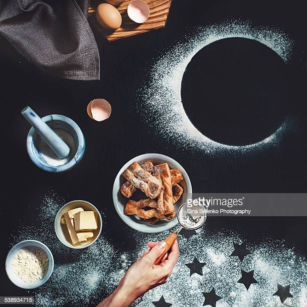 Puff pastry with stars and moon