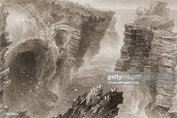 Puffin Hole near Kilkee County Clare Ireland Drawn by WHBartlett engraved by FWTopham From 'The Scenery and Antiquities of Ireland' by NPWillis and...
