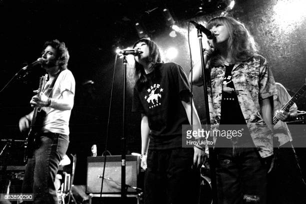 Puffy AmiYumi performing at Irving Plaza on Saturday night July 20 2002 This image Yumi Yoshimura center and Ami Onuki right The guy on far left is...