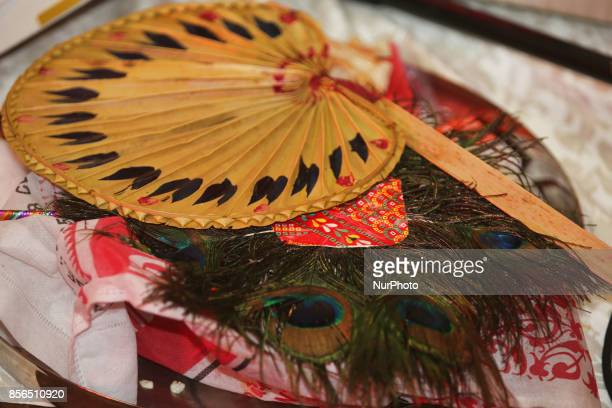 Puja items during the Durga Puja festival at a pandal in Mississauga Ontario Canada Hundreds of Bengalis attended the celebration Durga Puja is one...