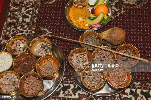 Puja items ready for special prayers during the Mahotsava Festival at a Hindu temple in Ontario Canada