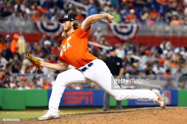 J Puk of Team USA pitches during the SirusXM AllStar Futures Game at Marlins Park on Sunday July 9 2017 in Miami Florida