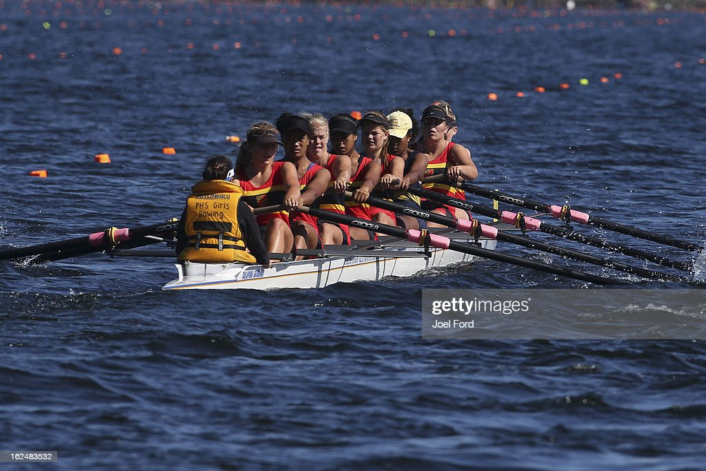 Pukekohe High School during the final of the girls under-16 eights during the New Zealand Junior Rowing Regatta on February 24, 2013 in Auckland, New Zealand.
